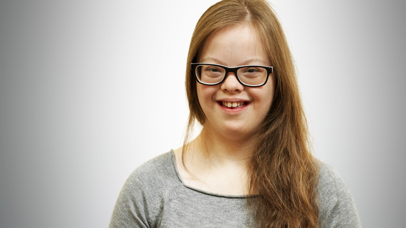 portrait of a girl with down syndrome